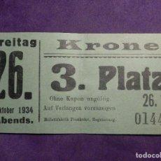 Cine: ANTIGUA ENTRADA AÑO 1934 - KRONE FREITAG - SIN DETERMINAR POR EL MOMENTO -. Lote 66317302