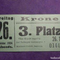 Cine: ANTIGUA ENTRADA AÑO 1934 - KRONE FREITAG - SIN DETERMINAR POR EL MOMENTO -. Lote 66317454