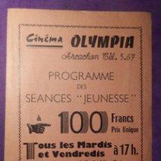 Cine: MUY ANTIGUO PROGRAMA CINE - CIMEMA OLYMPIA - PARÍS - . Lote 66352754