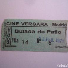 Cinéma: ENTRADA ORIGINAL ANTIGUA DEL CINE VERGARA MADRID. Lote 84907348
