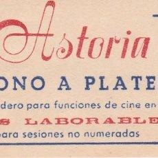 Cine: SALA ASTORIA (PALMA DE MALLORCA) ABONO A PLATEA. AÑOS 60'.. Lote 86655616