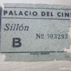 Cine: ENTRADA DE SILLON DEL CINE PALACIO DEL CINE DE MADRID FINALES DE AÑOS 40. Lote 90348616