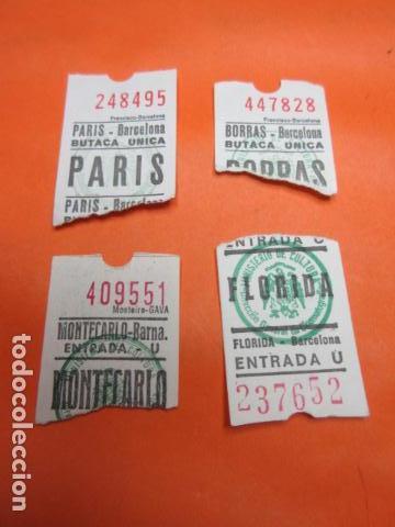 LOTE DE 4 ENTRADAS DE CINE EN BARCELONA BORRAS FLORIDA MONTECARLO PARIS (Cine - Entradas)