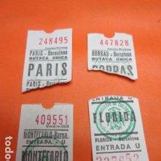 Cine: LOTE DE 4 ENTRADAS DE CINE EN BARCELONA BORRAS FLORIDA MONTECARLO PARIS. Lote 92293015