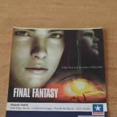 Cine: ENTRADA CINE KINEPOLIS - FINAL FANTASY TRUTH IN EVERY DREAM - VER FOTO ADICIONAL. Lote 93657415