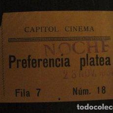 Cine: ENTRADA CINE - CAPITOL CINEMA- BARCELONA - AÑOS 30 -VER FOTOS - ( V-11.983). Lote 99159471