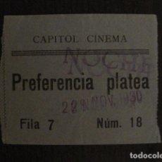 Cine: ENTRADA CINE - CAPITOL CINEMA- BARCELONA - AÑOS 30 -VER FOTOS - ( V-11.984). Lote 99159523