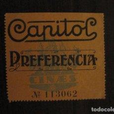 Cine: ENTRADA CINE - CAPITOL - BARCELONA - AÑOS 30 -VER FOTOS - ( V-11.986). Lote 99159587