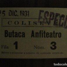 Cine: ENTRADA CINE - CINE COLISEUM - BARCELONA - AÑOS 30 -VER FOTOS - ( V-12.001). Lote 99161223