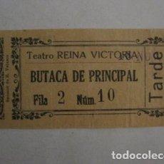 Cine: ENTRADA CINE - CINE TEATRO REINA VICTORIA - MADRID - AÑOS 30 -VER FOTOS - ( V-12.325). Lote 101311179