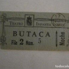 Cine: ENTRADA CINE - CINE TEATRO INFANTA ISABEL - MADRID - AÑOS 30 -VER FOTOS - ( V-12.341). Lote 101312139