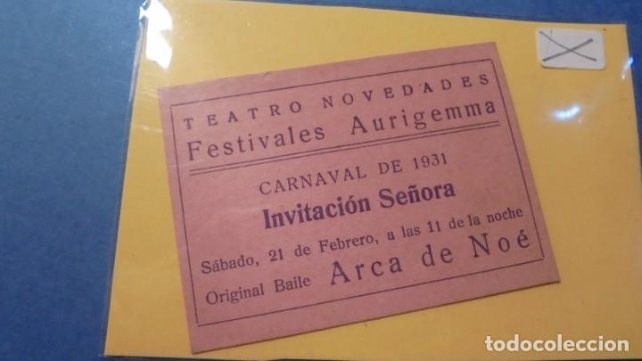 TATRO - ENTRADA TEATRO NOVEDADES CARNAVAL DE 1931 FESTIVALES AURIGEMMA INV. SEÑORA ARCA DE NOE (Cine - Entradas)