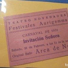 Cinéma: TATRO - ENTRADA TEATRO NOVEDADES CARNAVAL DE 1931 FESTIVALES AURIGEMMA INV. SEÑORA ARCA DE NOE . Lote 103283483