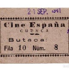 Cinéma: ENTRADA DE CINE - CINE ESPAÑA. CUENCA 1941. Lote 103605379