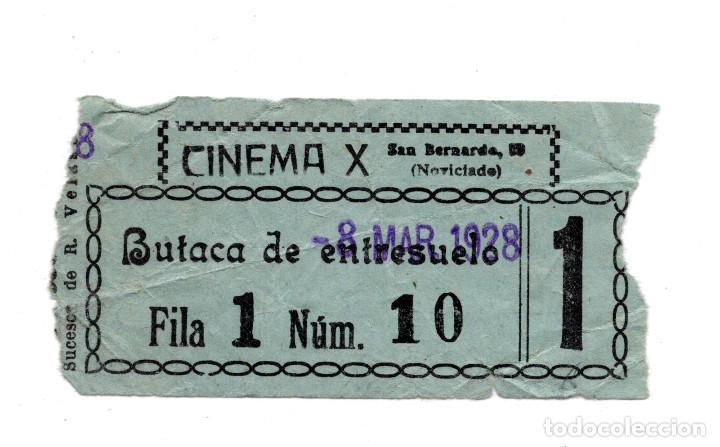 ENTRADA DE CINE - CINEMA X . BUTACA DE ENTRESUELO 1928 (Cine - Entradas)