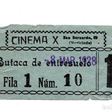 Cine: ENTRADA DE CINE - CINEMA X . BUTACA DE ENTRESUELO 1928. Lote 103605515