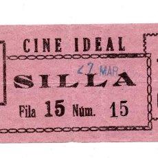 Cine: ENTRADA DE CINE - CINE IDEAL - SILLA. Lote 103606723