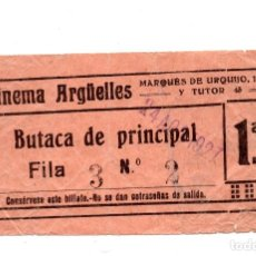 Cine: ENTRADA DE CINE - CINEMA ARGËLLES - BUTACA DE PRINCIPAL - 1927. Lote 103607259