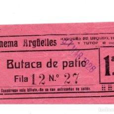 Cine: ENTRADA DE CINE - CINEMA ARGËLLES - BUTACA DE PATIO - 1928. Lote 103607995