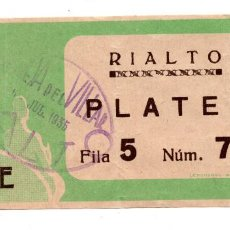 Cine: ENTRADA DE CINE - RIALTO - PLATEA - 1935. Lote 103683251