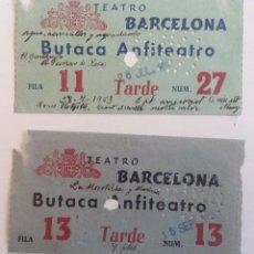 Cine: CIRCA 1953 * LOTE DE 3 ENTRADAS * TEATRO BARCELONA. Lote 105094995