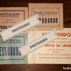 Cine: ABARAN 4 RESGUARDOS INVITACIONES TEATRO GUERRERO 1939 FIESTA UNIFICACIÓN MURCIA. Lote 152955854