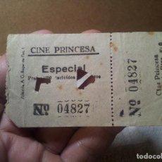 Cine: ENTRADA CINE PRINCESA AÑOS 40 BARCELONA CINEMA. Lote 113148547