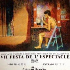 Cine: ENTRADA VII FIESTA ESPECTÁCULO ASOCIACIÓN ACTORES DIRECTORES PROFESIONALES 1990 DISEÑO ENRIC MAJÓ. Lote 113432623