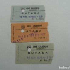 Cine: 3 ENTRADAS ORIGINALES ANTIGUAS CINE CALDERON DE BARCELONA . Lote 114204659