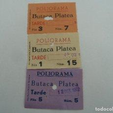 Cine: 3 ENTRADAS ORIGINALES ANTIGUAS CINE POLIORAMA DE BARCELONA . Lote 114204763