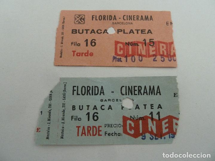 2 ENTRADAS ORIGINALES ANTIGUAS CINE FLORIDA CINERAMA CINESA DE BARCELONA (Cine - Entradas)