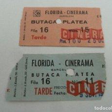 Cine: 2 ENTRADAS ORIGINALES ANTIGUAS CINE FLORIDA CINERAMA CINESA DE BARCELONA . Lote 114204931