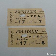 Cine: 2 ENTRADAS ORIGINALES ANTIGUAS CINE AQUITANIA DE BARCELONA . Lote 114206623