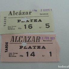 Cine: 2 ENTRADAS ORIGINALES ANTIGUAS CINE ALCAZAR DE BARCELONA . Lote 114206819