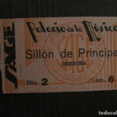 Cine: ENTRADA CINE -PALACIO DE LA MUSICA -MADRID - AÑOS 1930 -VER FOTOS-(V-14.223). Lote 118200151