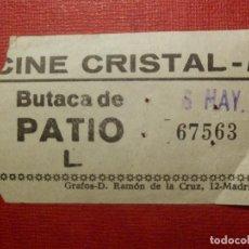 Cine: ENTRADA - CINE - CRISTAL - MADRID - AÑOS 60´S 70´S. Lote 118597707
