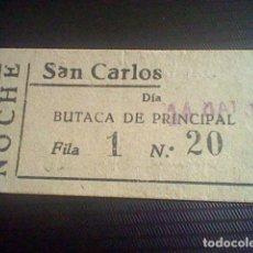 Cine: ENTRADA CINE SAN CARLOS SABU 14 MAYO 1942. Lote 118738499