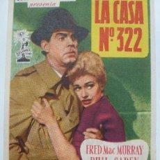 Cine: PROGRAMA DE CINE. LA CASA Nº 322. FRED MAC MURRAY. 1956. PUBLICIDAD EN EL DORSO.. Lote 122803027