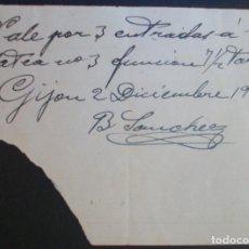 Cine: VALE 3 ENTRADAS CINE CAMPOS ELÍSEOS. GIJÓN (ASTURIAS). 1946. Lote 134088238
