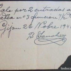 Cine: VALE 2 ENTRADAS CINE CAMPOS ELÍSEOS. GIJÓN (ASTURIAS). 1946. Lote 134088322