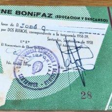 Cine: CINE BONIFAZ (EDUCACION Y DESCANSO) - PASE INVITACIÓN POR DOS BUTACAS - AÑO 1958. Lote 140337782