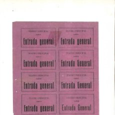 Cine: LOTE DE 10 ENTRADAS. TEATRO PRINCIPAL. ENTRADA GENERAL. SIGLO XIX. PUERTO STA MARIA. Lote 140855014