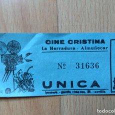 Cine: PDO1-ENTRADA PARA EL CINE CRISTINA LA HERRADURA GRANADA. Lote 143059110