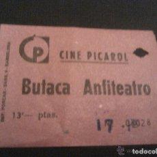 Cine: ENTRADA CINE PICAROL BUTACA ANFITEATRO AÑOS 50. Lote 143350074