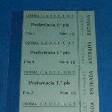 Cine: (M) ENTRADA DE CINE - CINEMA CADCI - UGT ( 3 ENTRADAS ), 17 X 13 CM, BUEN ESTADO. Lote 143688574