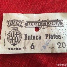 Cine: R5069 ENTRADA TICKET CINE BARCELONA TEATRO BUTACA PLATEA (5-10-1957). Lote 145257514