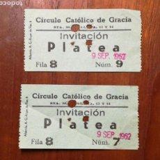 Cine: DOS ENTRADAS CINE. CIRCULO CATOLICO DE GRÀCIA. BARCELONA. 1962. Lote 153388708
