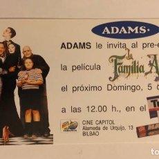Cine: LA FAMILIA ADDAMS. INVITACIÓN AL PREESTRENO DE LA PELÍCULA, EL 5/4/1991. . Lote 155031194