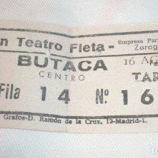 Cine: ENTRADA CINE GRAN TEATRO FLETA DE ZARAGOZA; AÑOS 70. Lote 155417614