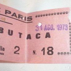 Cine: ENTRADA DE CINE DESAPARECIDO PARIS DE ZARAGOZA; AÑO 1973. Lote 155417834